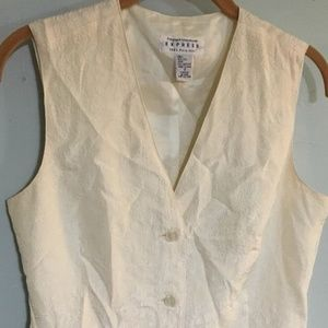 Pure SILK VEST SZ Small Ivory floral brocade